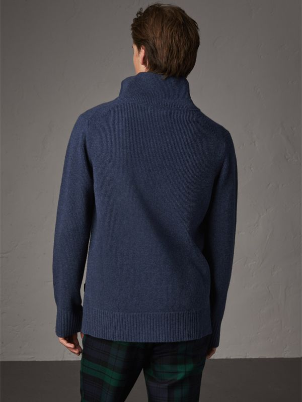 Zip Funnel-neck Wool Cashmere Sweater in Canvas Blue - Men | Burberry United Kingdom - cell image 2