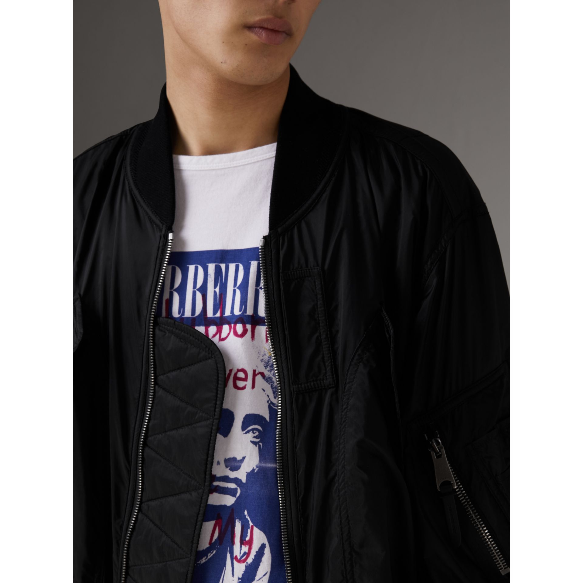Lightweight Technical Bomber Jacket in Black - Men | Burberry Australia - gallery image 1