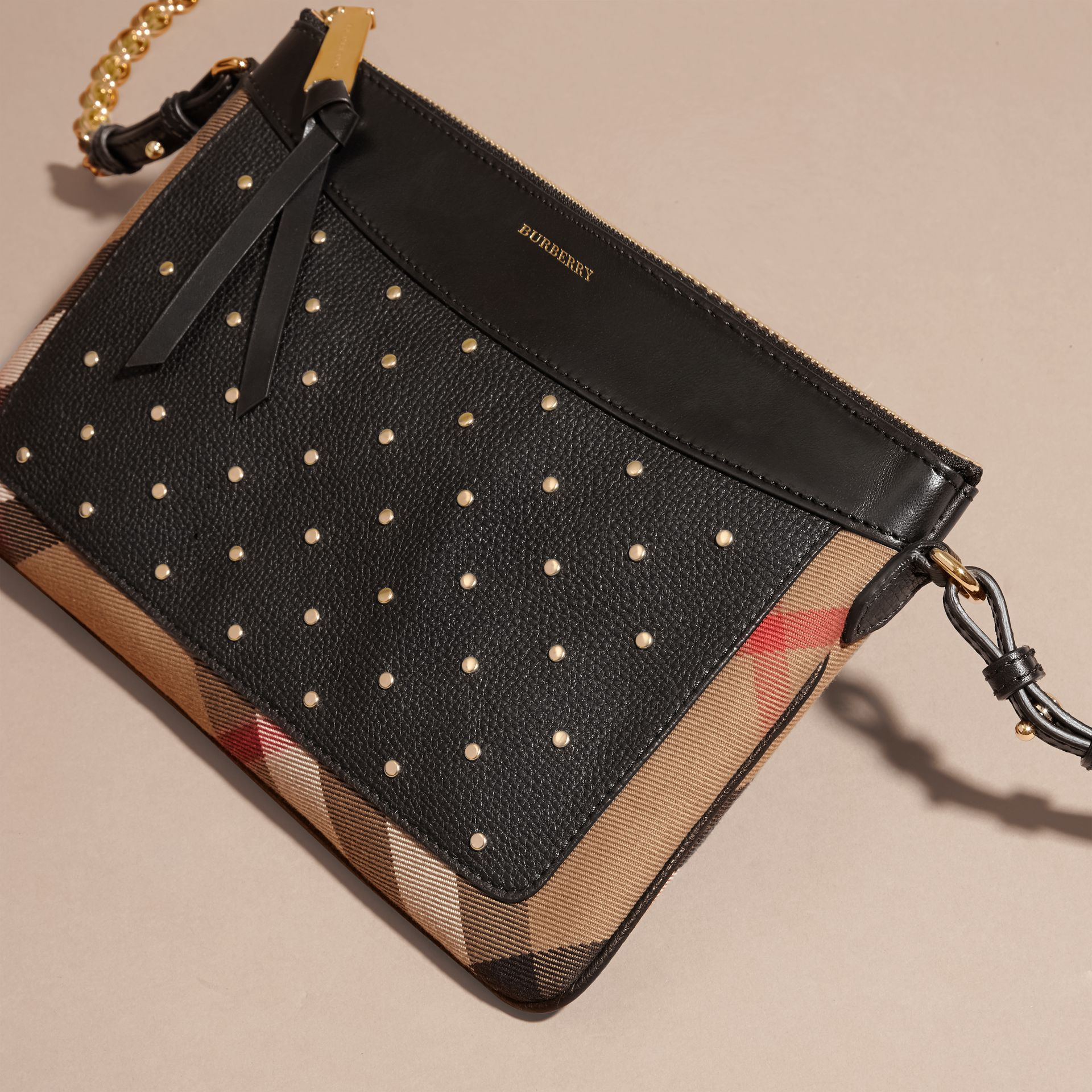 Riveted Leather and House Check Clutch Bag in Black - gallery image 8