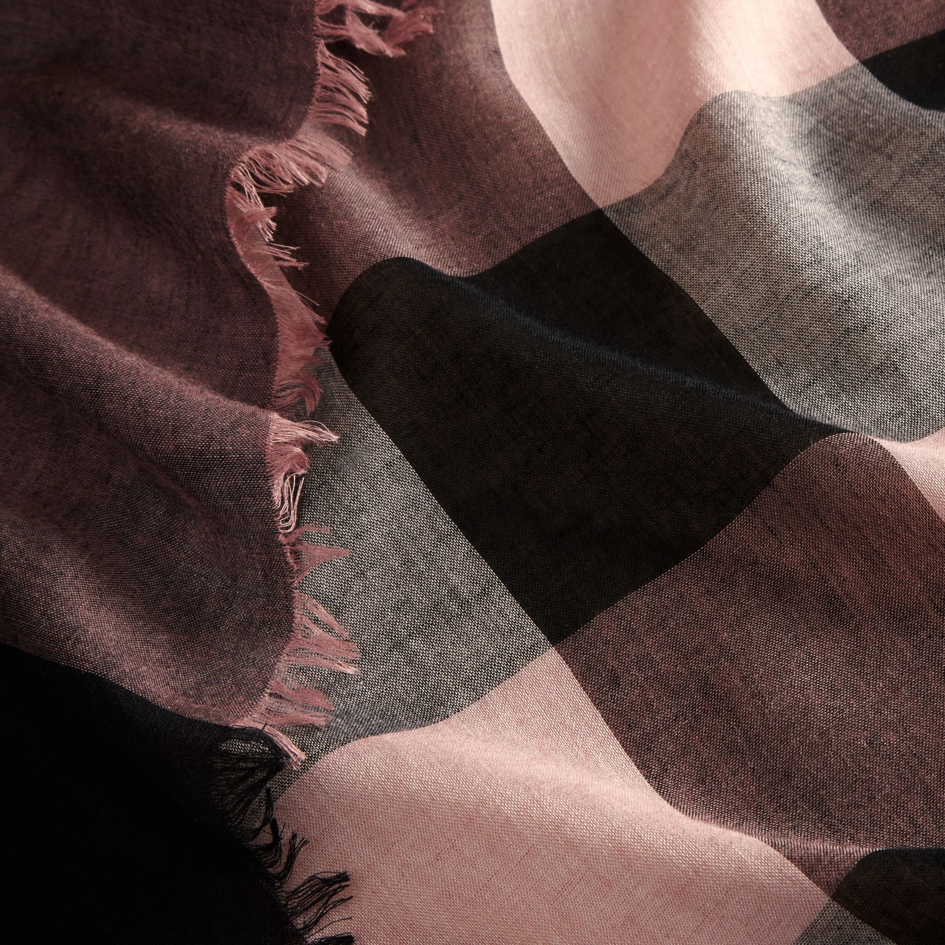 Check Modal and Wool Square Scarf in Antique Rose - gallery image 2