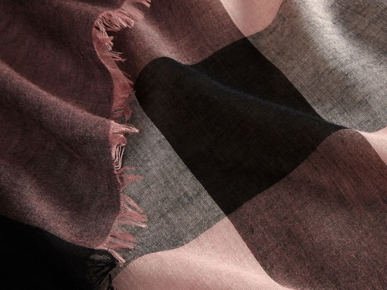 Check Modal and Wool Square Scarf in Antique Rose - cell image 1