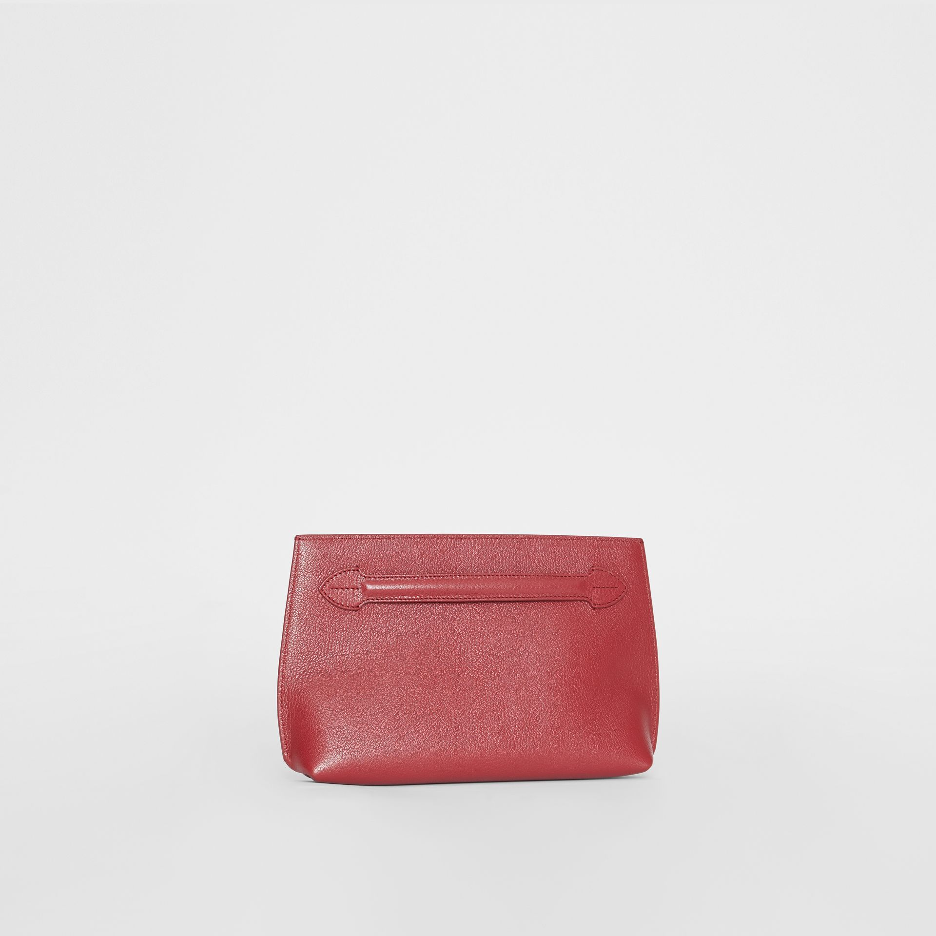 Grainy Leather Wristlet Clutch in Crimson - Women | Burberry United States - gallery image 6