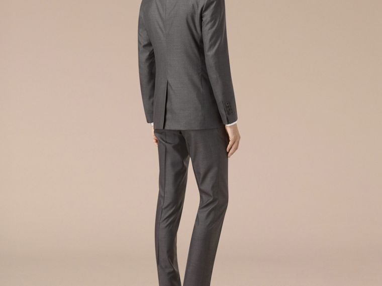 Dark grey melange Slim Fit Wool Silk Half-canvas Suit - cell image 1