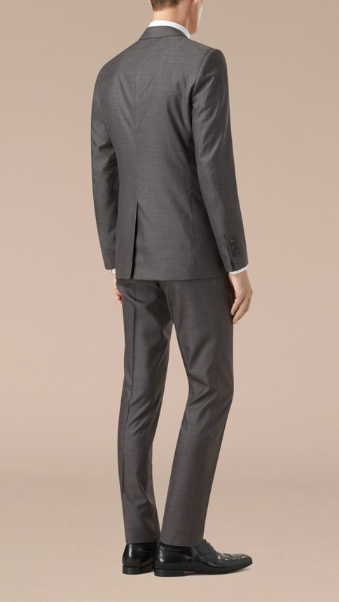 Dark grey melange Slim Fit Wool Silk Half-canvas Suit - Image 2