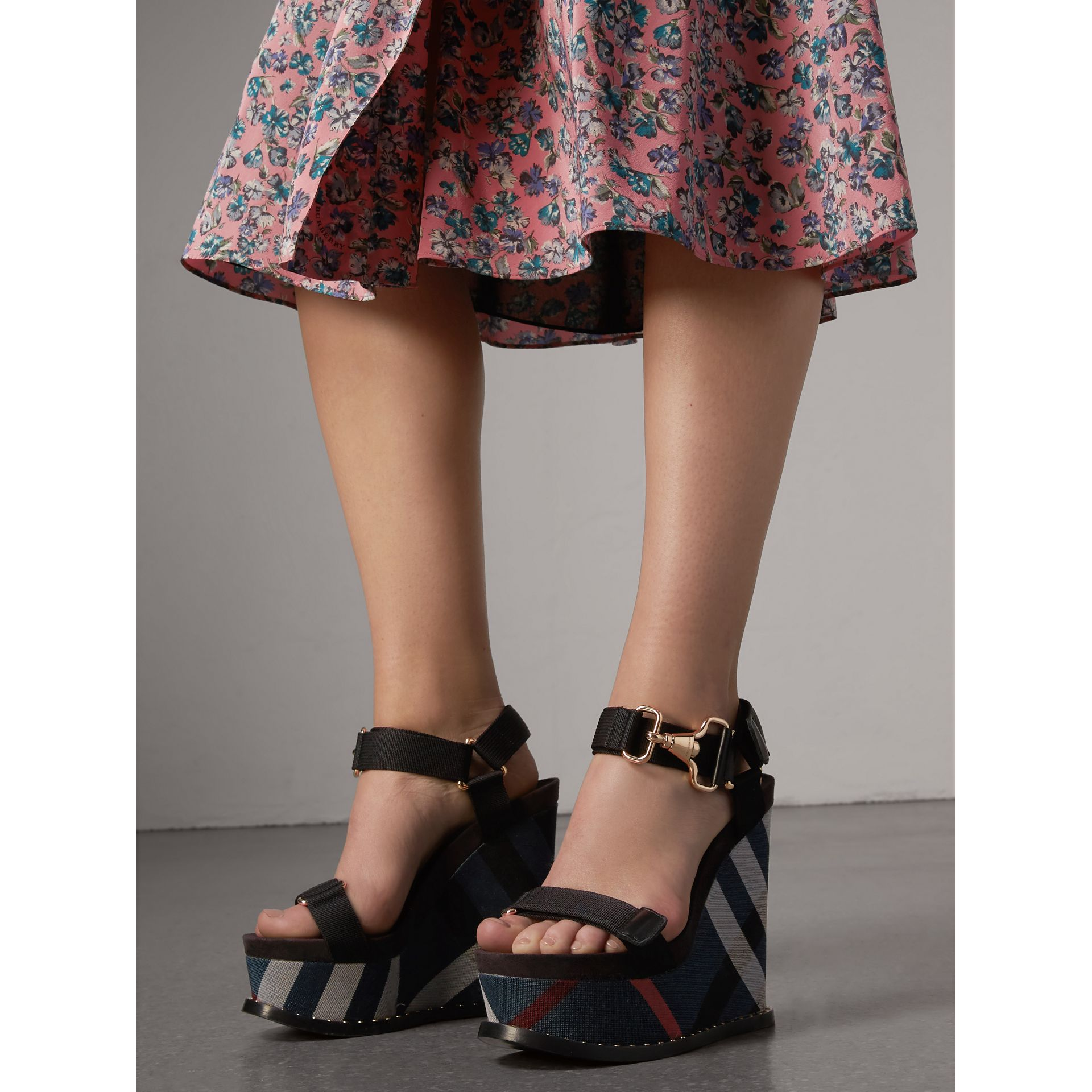 Hardware Detail Ripstop and Check Wedge Sandals in Ink Blue - Women | Burberry - gallery image 3