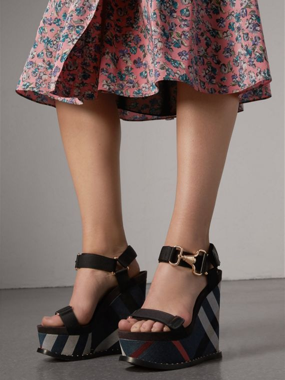 Hardware Detail Ripstop and Check Wedge Sandals in Ink Blue - Women | Burberry - cell image 2
