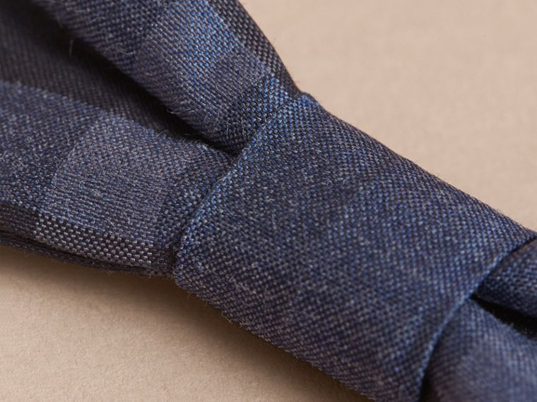 Check Silk Blend Bow Tie in Dark Mineral Blue | Burberry - cell image 1
