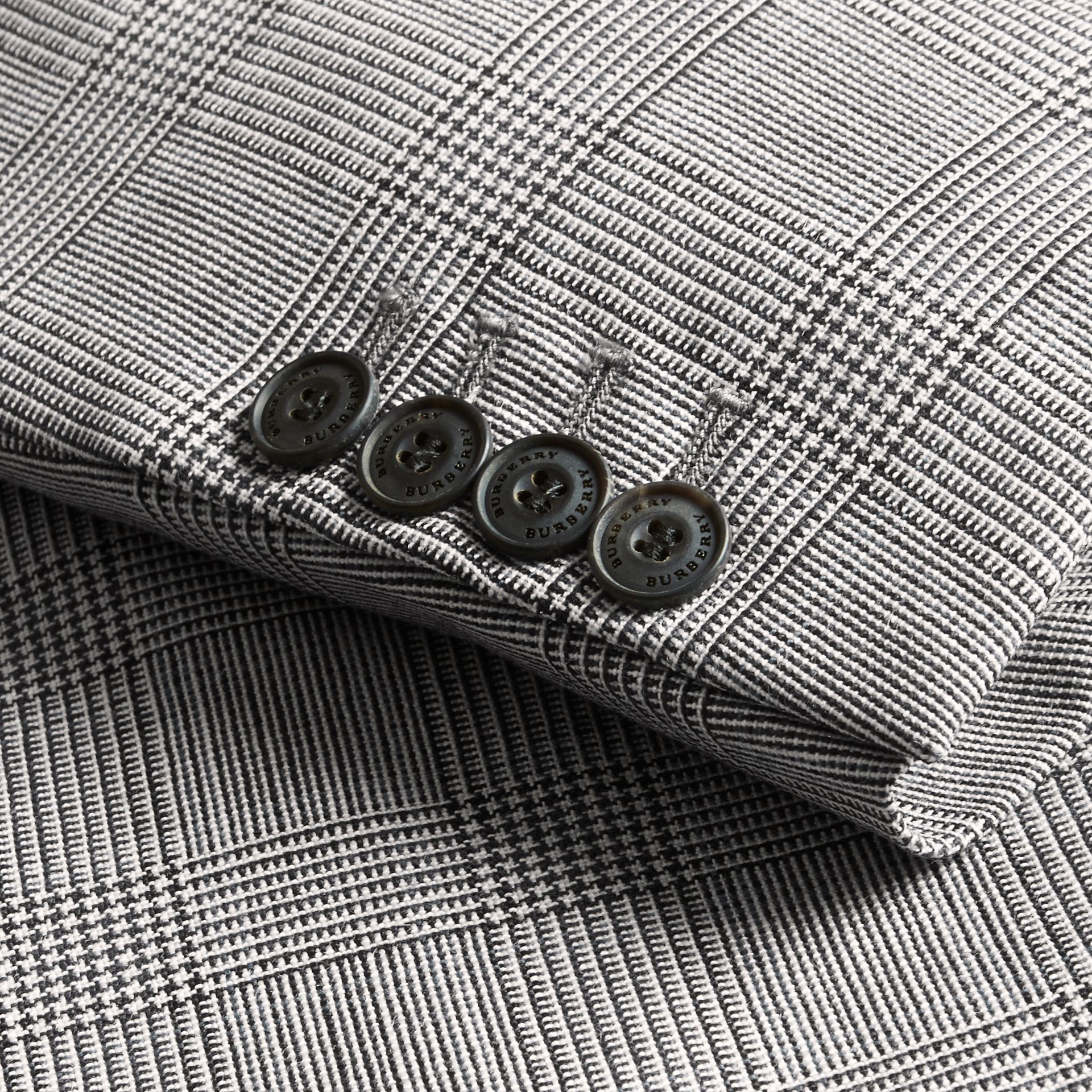Pale grey Slim Fit Prince of Wales Check Wool Half-canvas Suit - gallery image 2