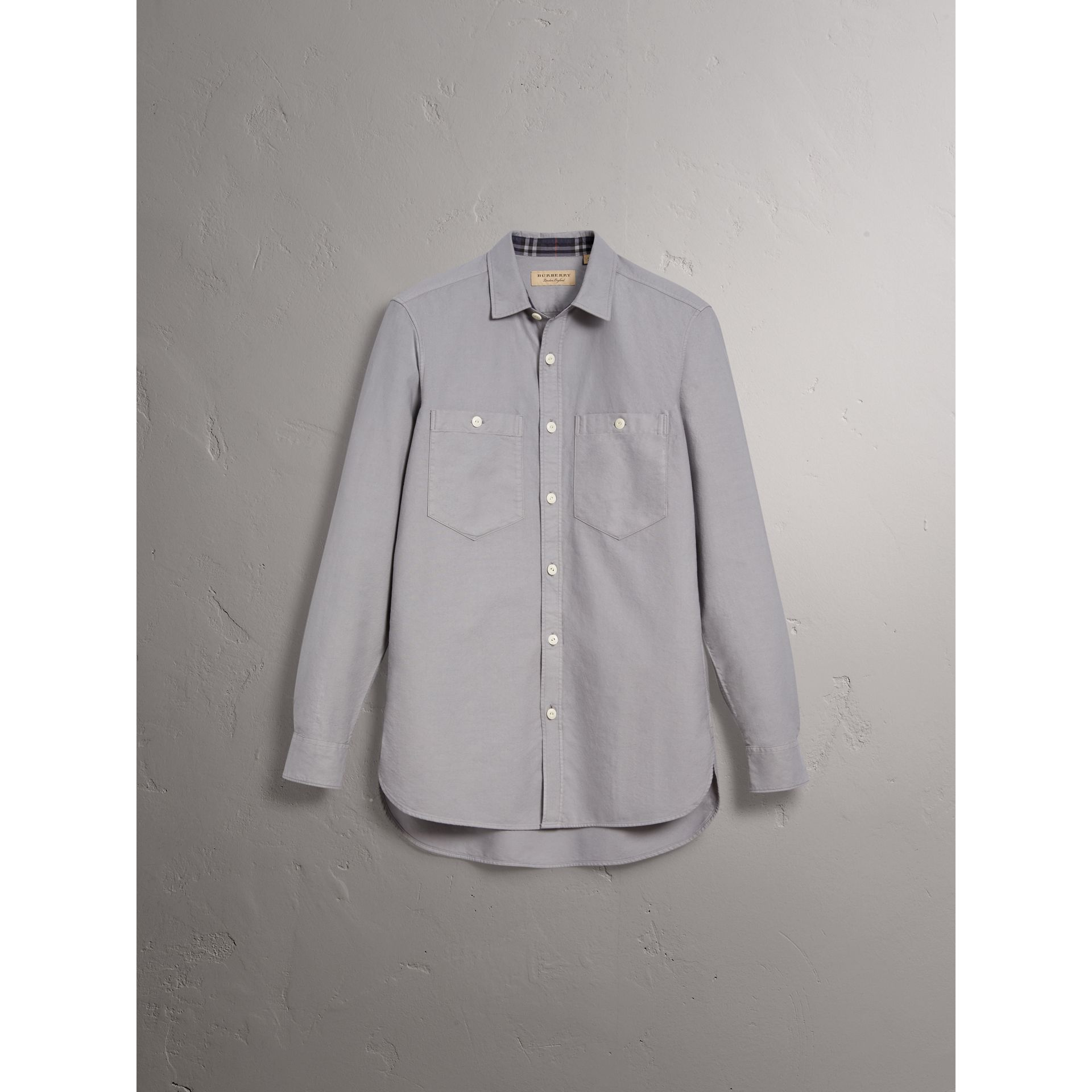 Cotton Oxford Shirt in Pale Grey - Men | Burberry Canada - gallery image 4
