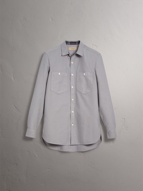 Cotton Oxford Shirt in Pale Grey - Men | Burberry United Kingdom - cell image 3
