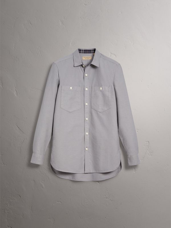 Cotton Oxford Shirt in Pale Grey - Men | Burberry - cell image 3