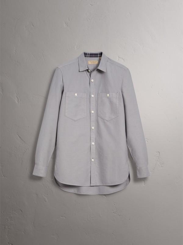 Camisa Oxford de algodão (Cinza Claro) - Homens | Burberry - cell image 3