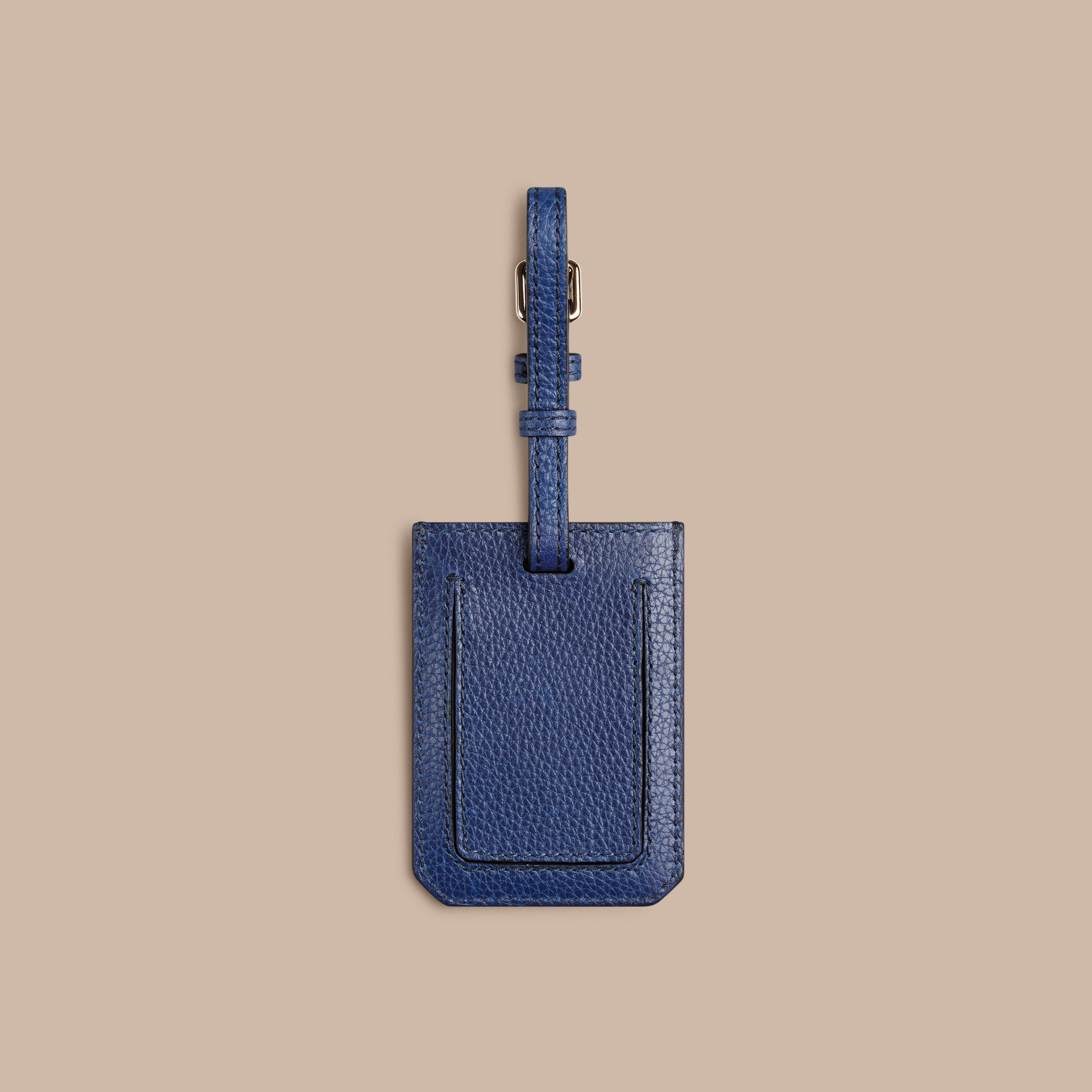 Grainy Leather Luggage Tag in Bright Navy - gallery image 2