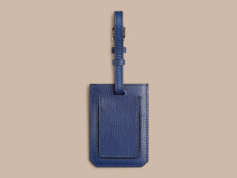Grainy Leather Luggage Tag in Bright Navy | Burberry Australia - cell image 1