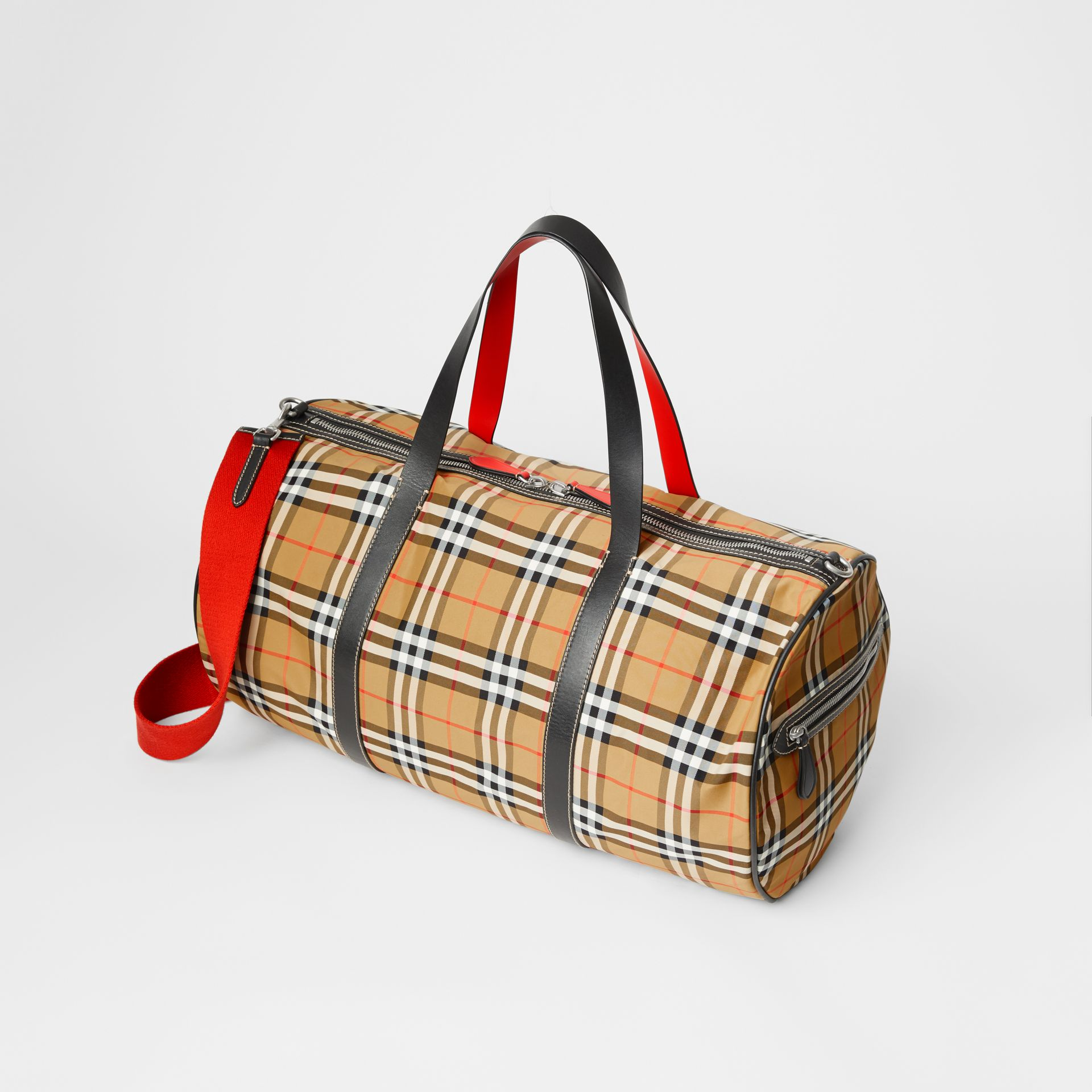 Large Vintage Check and Leather Barrel Bag in Antique Yellow - Men | Burberry Canada - gallery image 4