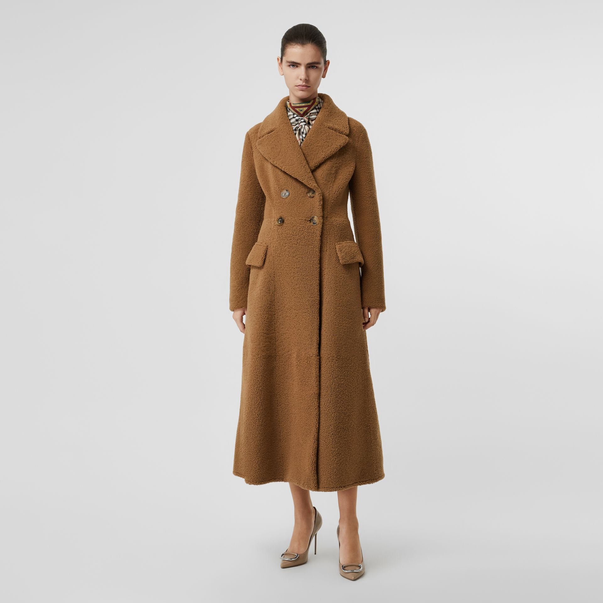 Shearling Tailored Coat in Caramel - Women | Burberry - gallery image 5