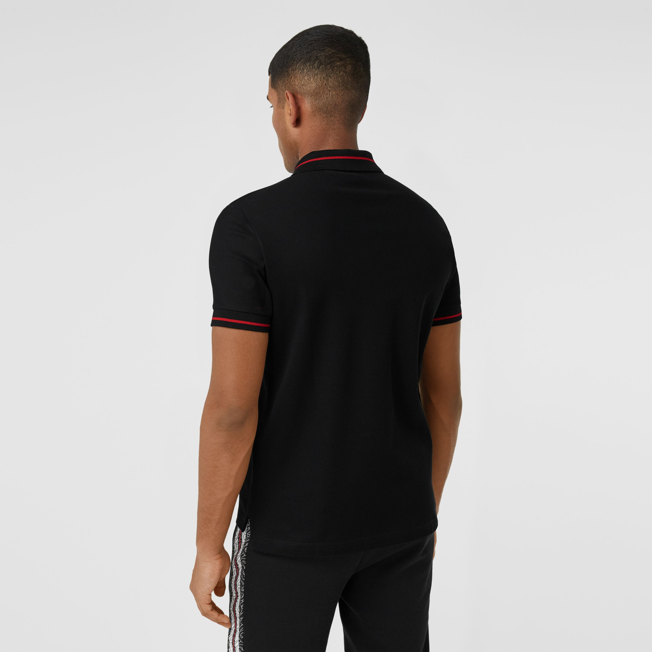 Logo Appliqué Cotton Piqué Polo Shirt in Black - Men | Burberry - 3
