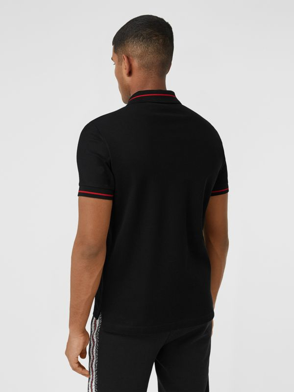 Logo Appliqué Cotton Piqué Polo Shirt in Black - Men | Burberry - cell image 2