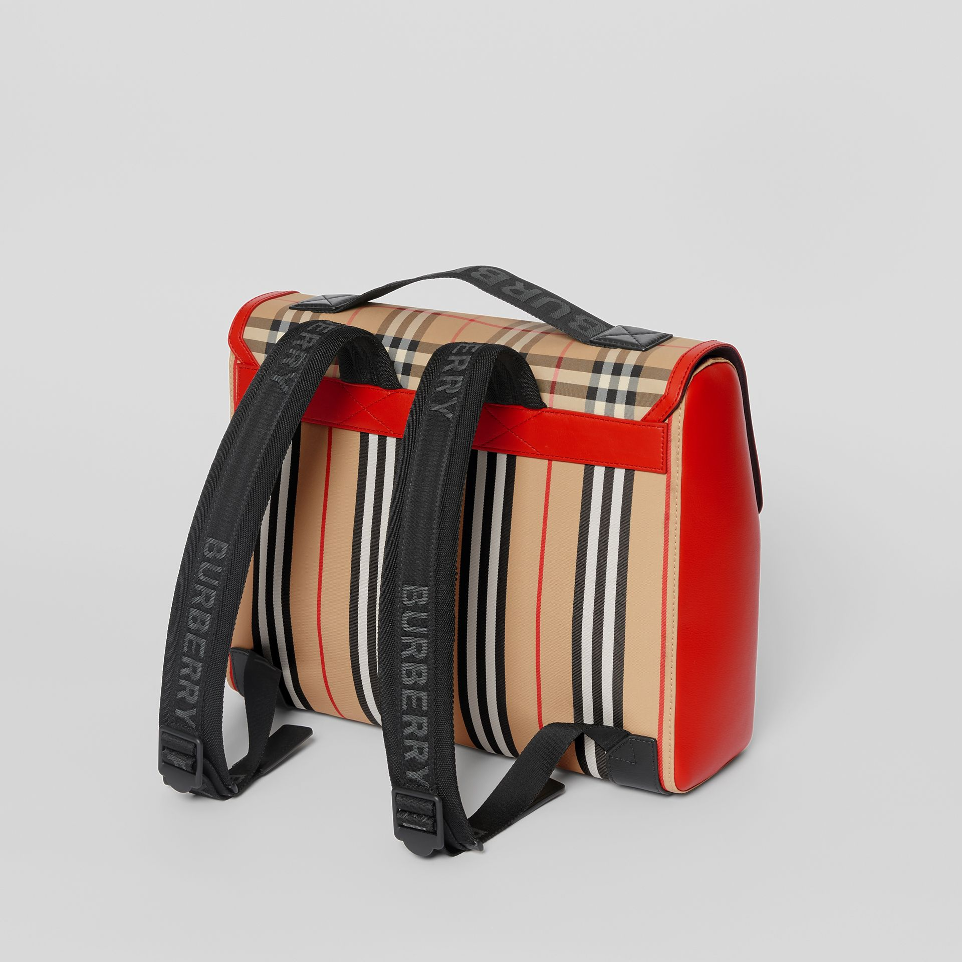 Vintage Check and Icon Stripe Nylon Backpack in Bright Military Red - Children | Burberry - gallery image 2