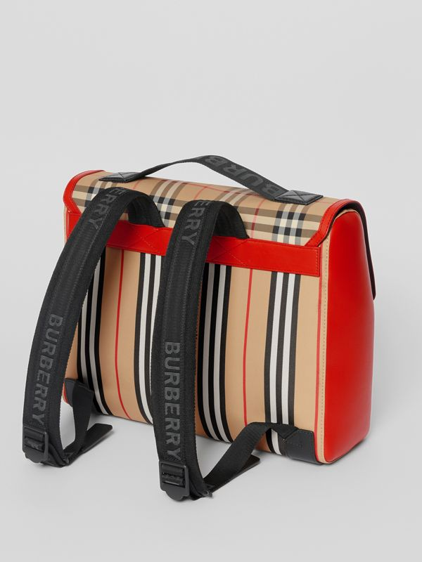 Vintage Check and Icon Stripe Nylon Backpack in Bright Military Red - Children | Burberry - cell image 2