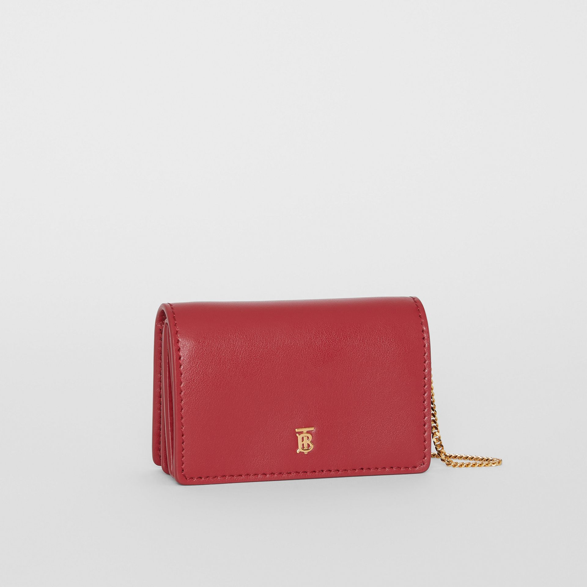 Leather Card Case with Detachable Strap in Crimson - Women | Burberry - gallery image 4