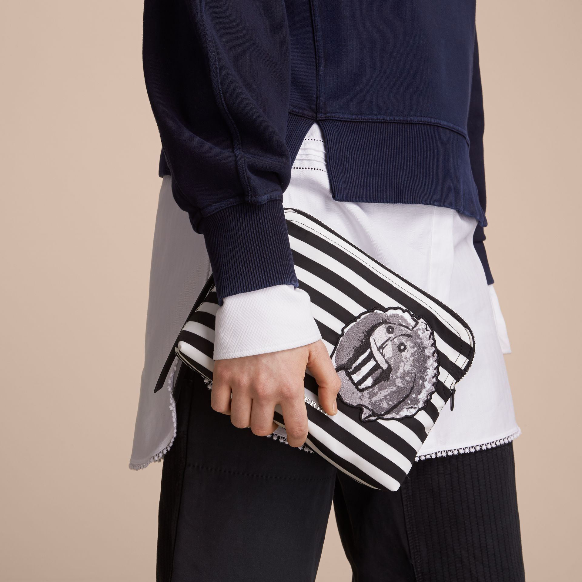 Large Striped Pouch with Pallas Heads Appliqué in Black/white - Women | Burberry - gallery image 3