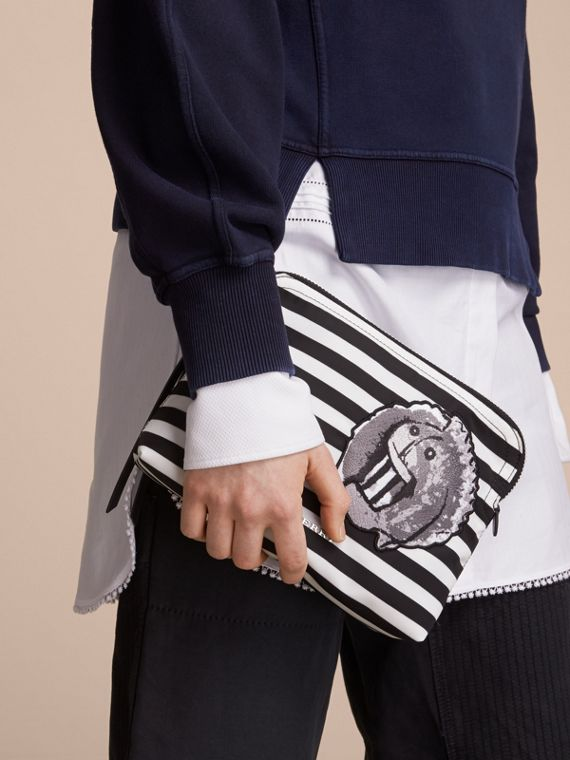 Large Striped Pouch with Pallas Heads Appliqué in Black/white - Women | Burberry - cell image 2