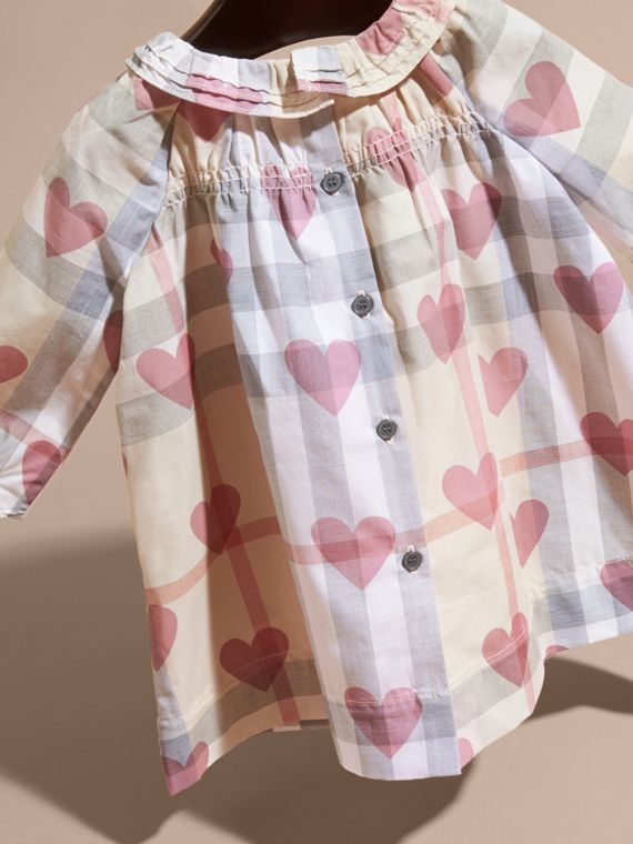 Pale pink Heart and Check Cotton Dress and Bloomers - cell image 3