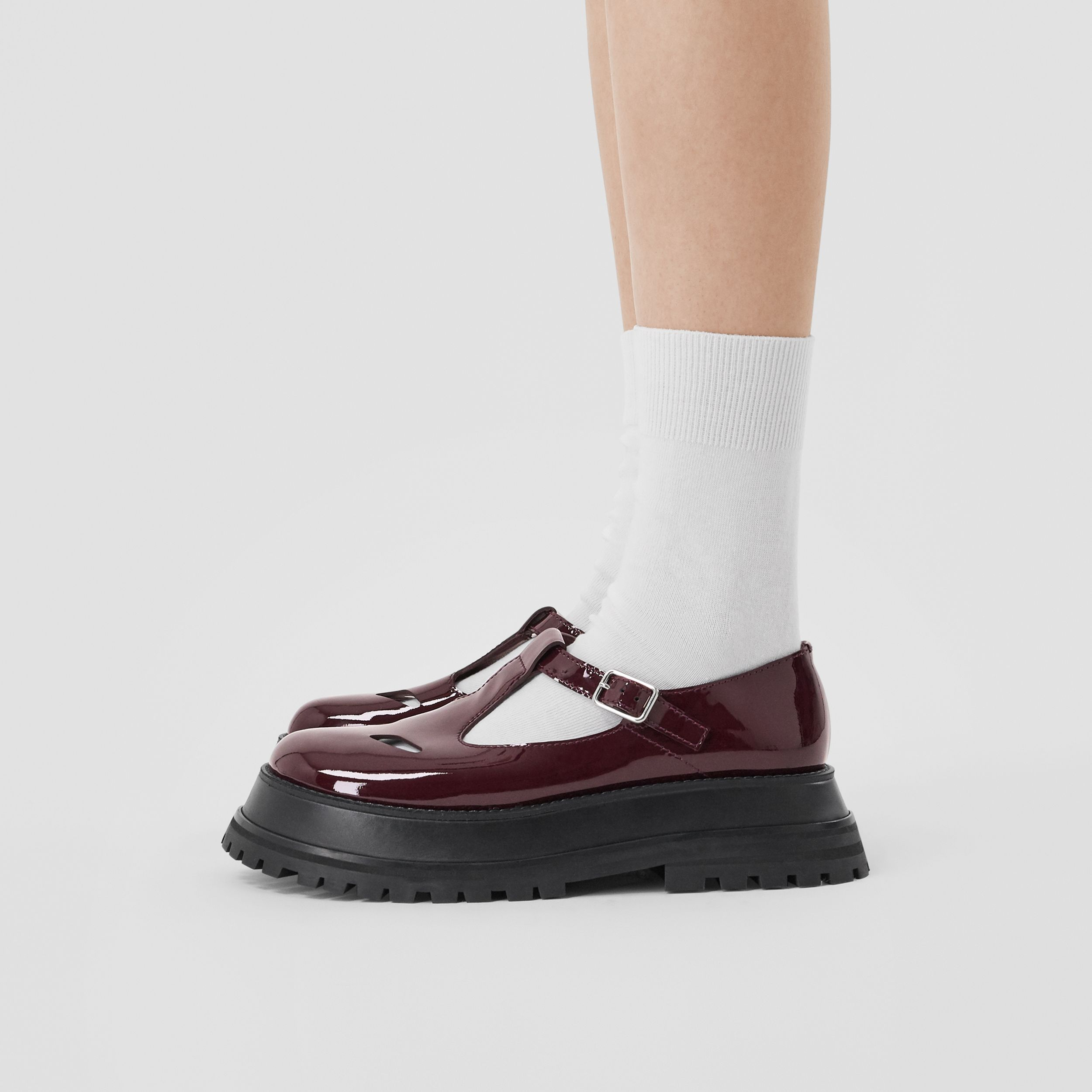 Patent Leather T-bar Shoes in Oxblood - Women | Burberry - 3