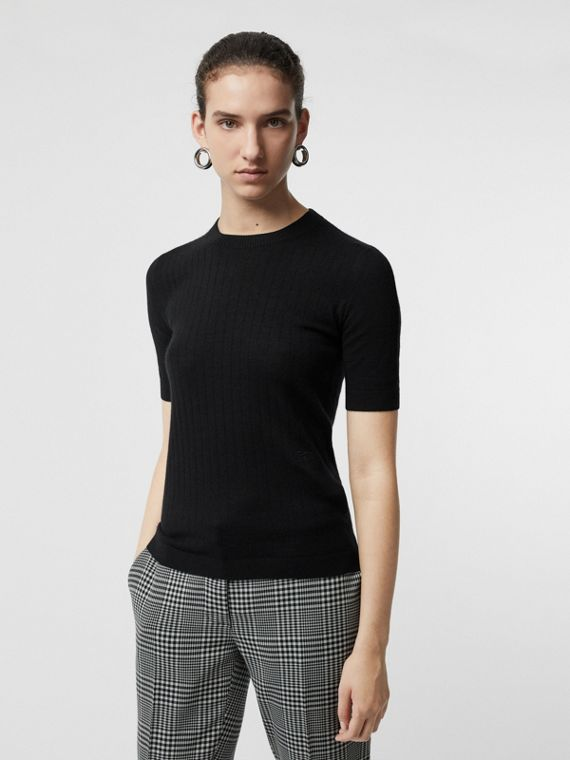 Short-sleeve Rib Knit Cashmere Sweater in Black