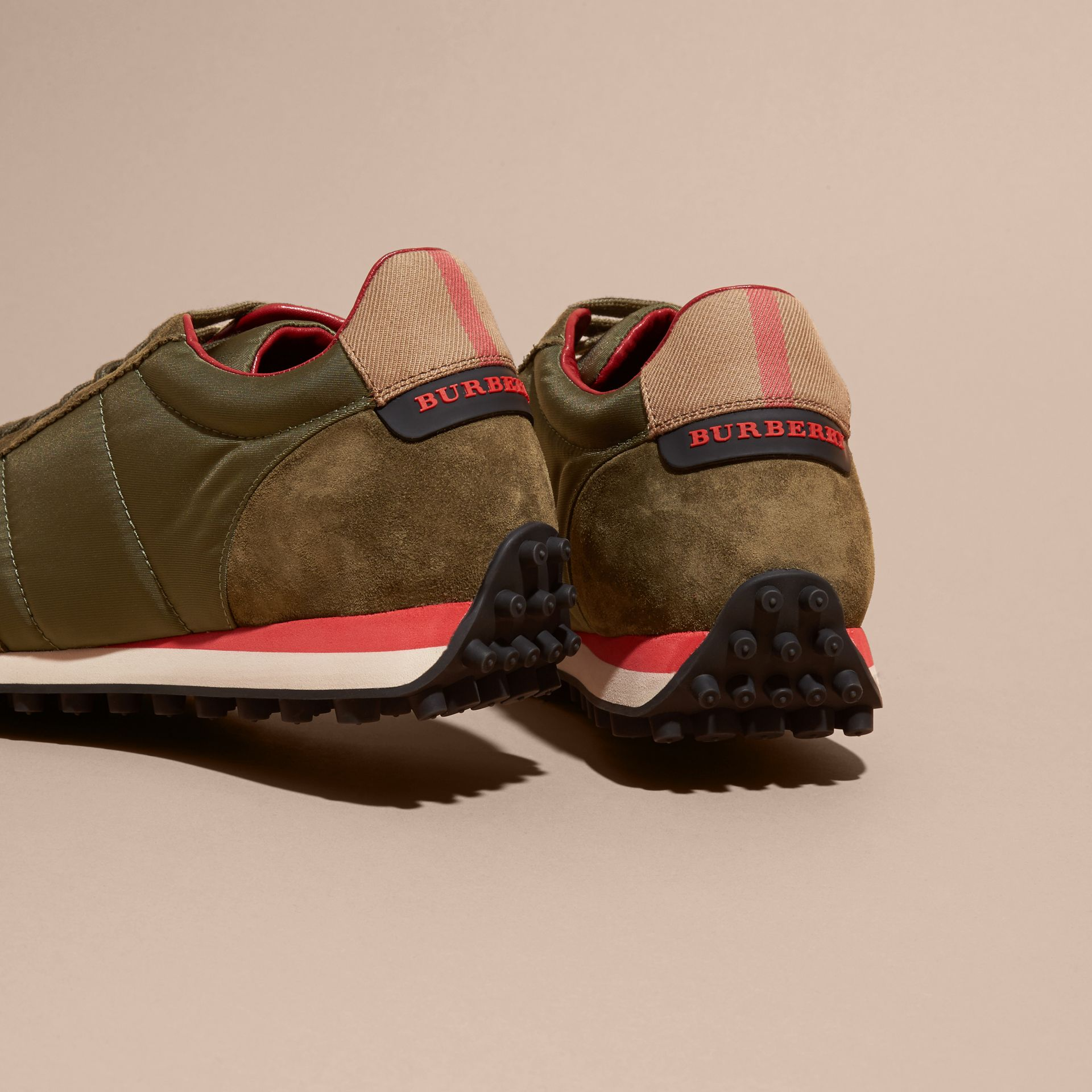 House Check Trim Suede and Technical Satin Sneakers in Olive Green - gallery image 4