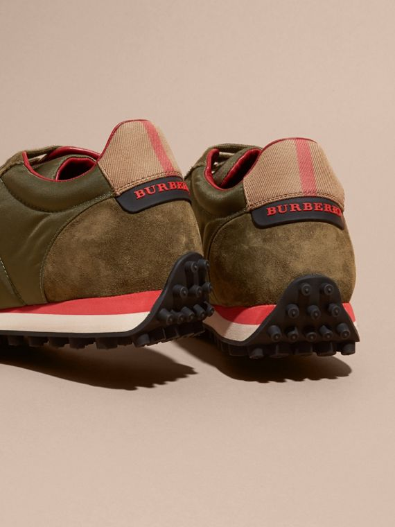 House Check Trim Suede and Technical Satin Sneakers in Olive Green - Men | Burberry - cell image 3