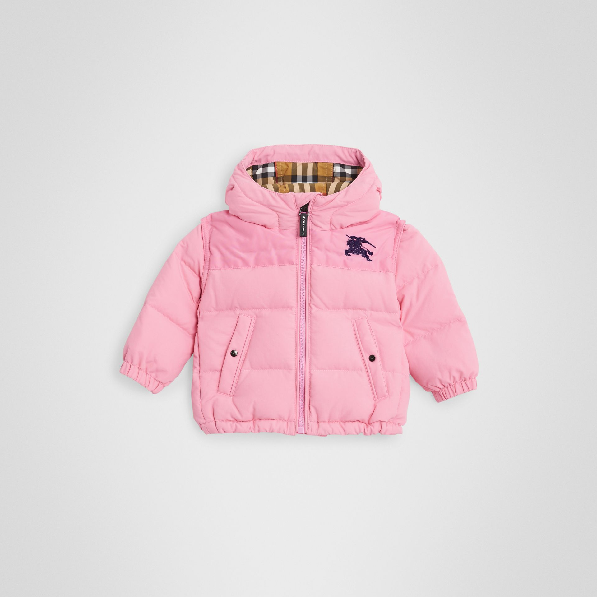 Down-filled Hooded Puffer Jacket in Ice Pink - Children | Burberry United Kingdom - gallery image 0