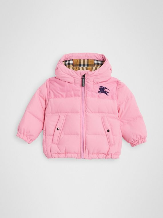 Down-filled Hooded Puffer Jacket in Ice Pink