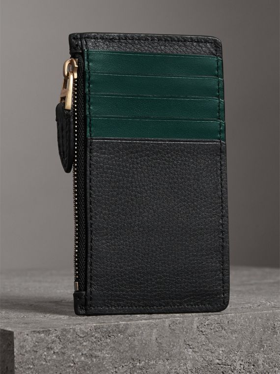 Two-tone Leather Zip Card Case in Black | Burberry Canada - cell image 2