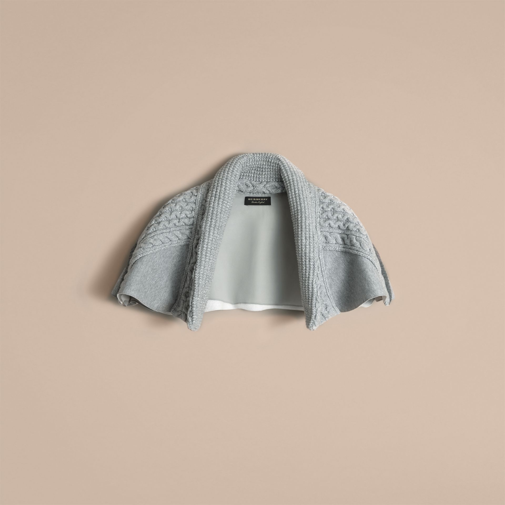 Cable Knit and Brushed-back Jersey Capelet in Grey Melange - Women | Burberry - gallery image 4