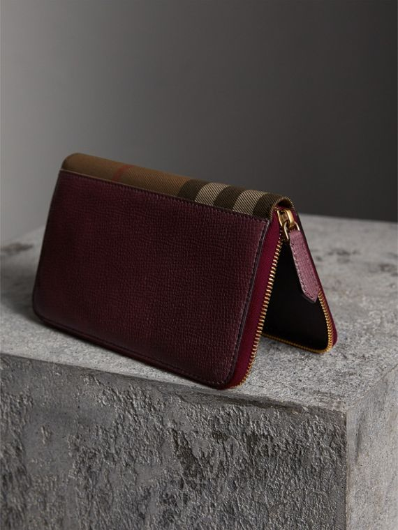 House Check and Grainy Leather Ziparound Wallet in Wine | Burberry - cell image 2