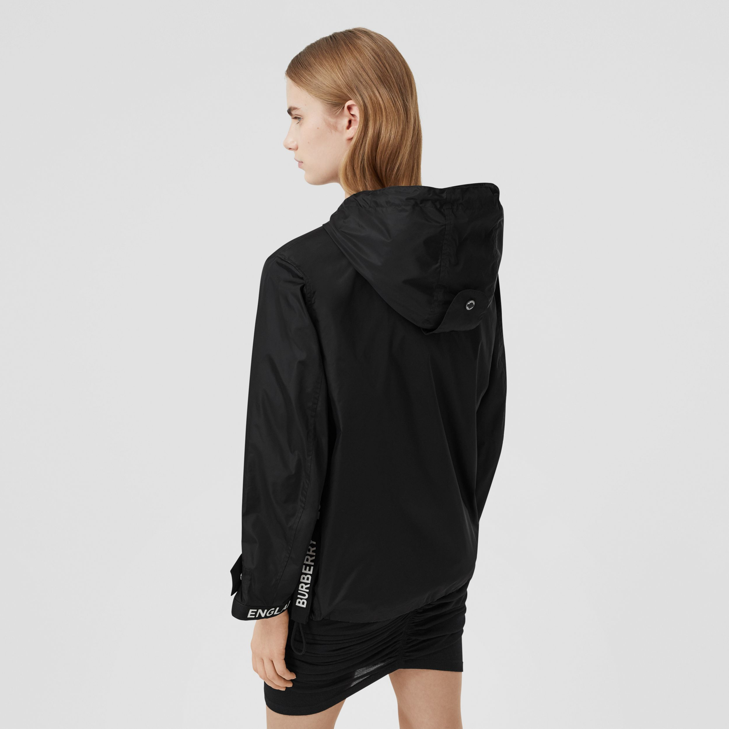 Logo Tape ECONYL® Hooded Jacket in Black - Women | Burberry United Kingdom - 3