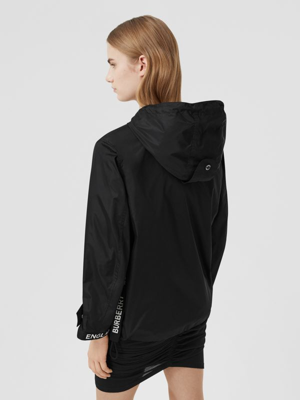 Logo Tape ECONYL® Hooded Jacket in Black - Women | Burberry - cell image 2