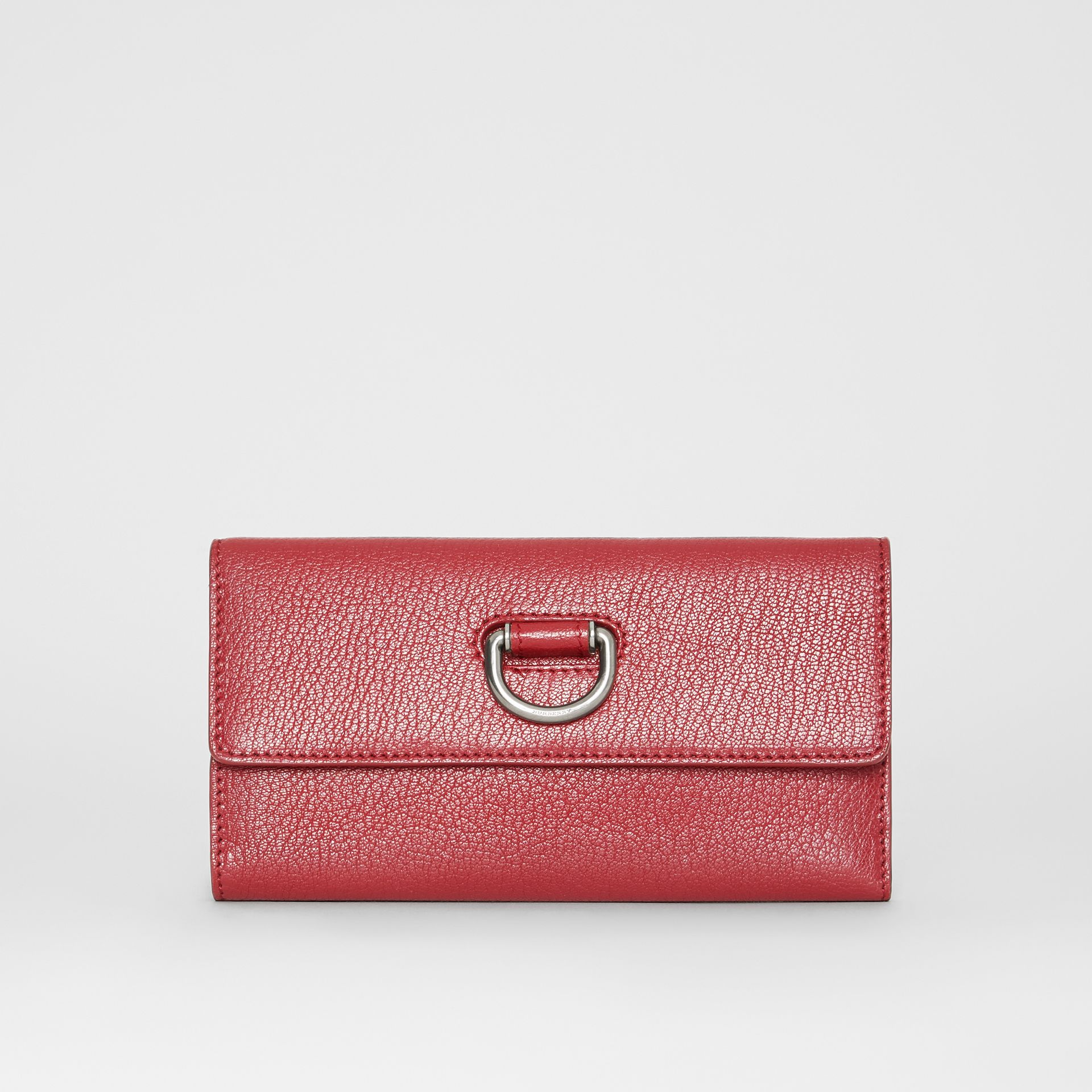 D-ring Grainy Leather Continental Wallet in Crimson - Women | Burberry - gallery image 0