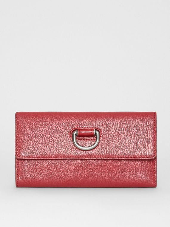 D-ring Grainy Leather Continental Wallet in Crimson