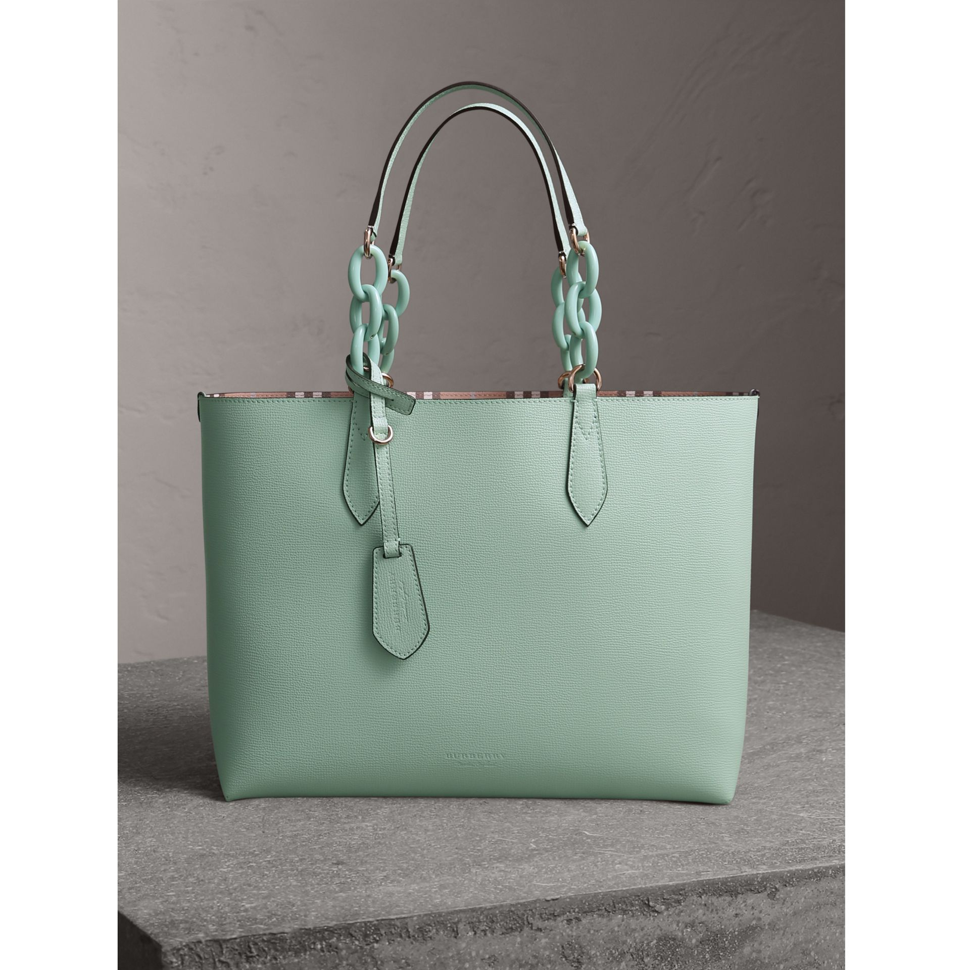 The Medium Reversible Tote with Resin Chain in Pale Opal - Women | Burberry Australia - gallery image 1