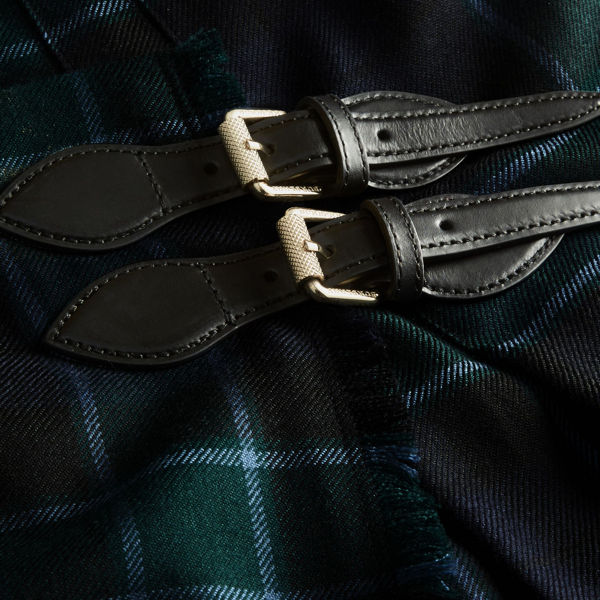 Bottle green Check Wool Kilt - gallery image 2