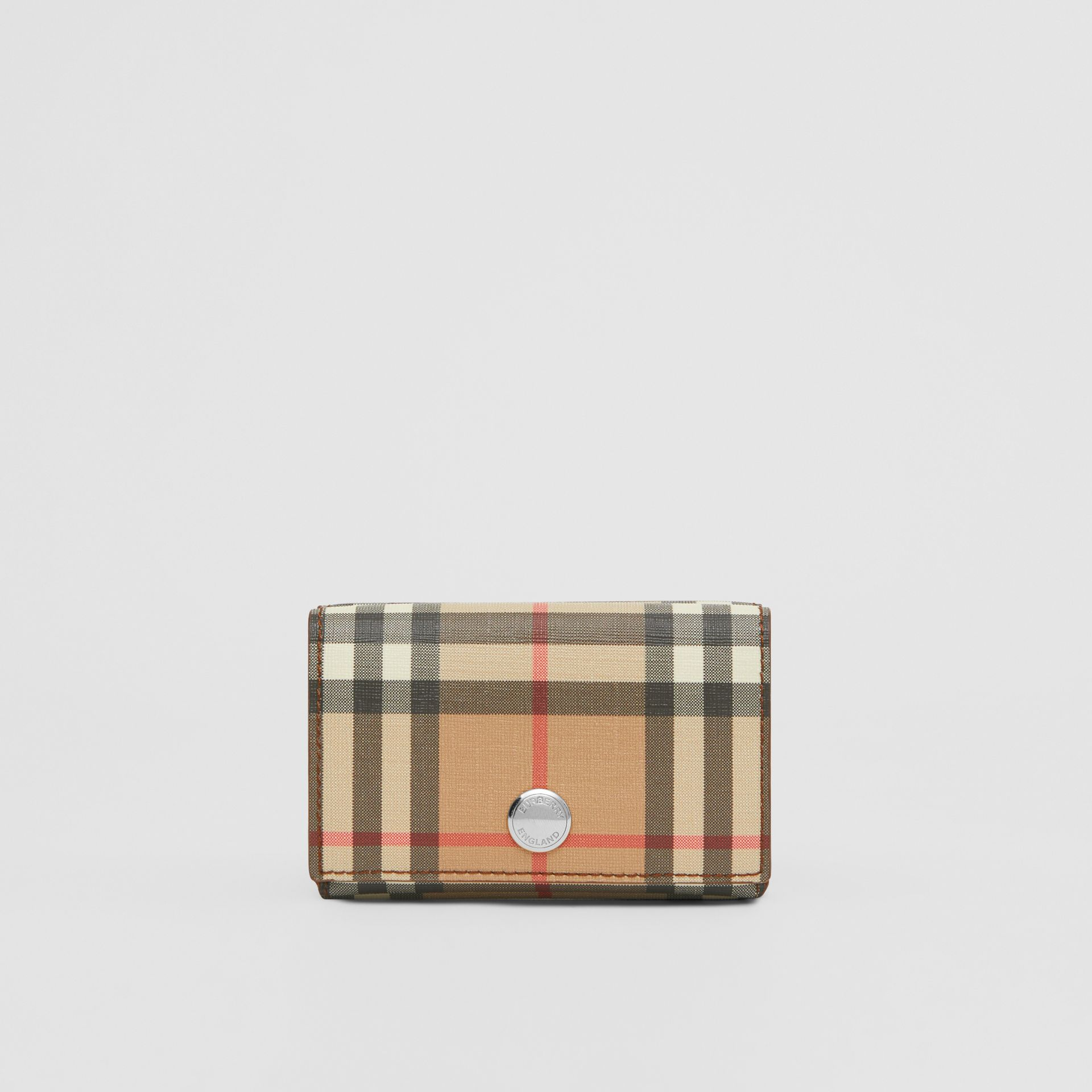 Small Vintage Check E-canvas Folding Wallet in Malt Brown - Women | Burberry - gallery image 0