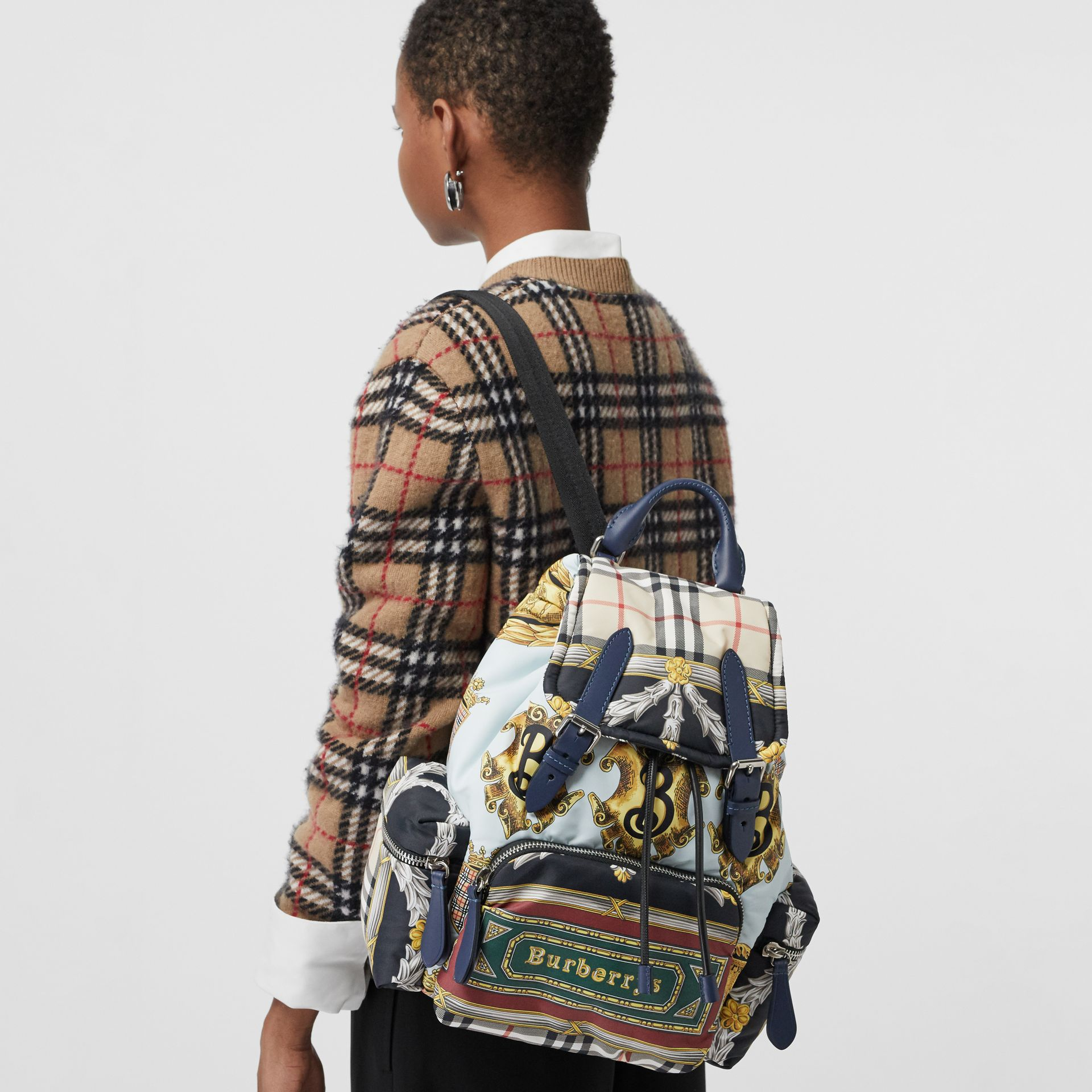 The Medium Rucksack in Archive Scarf Print in Ink Blue - Women | Burberry United Kingdom - gallery image 5