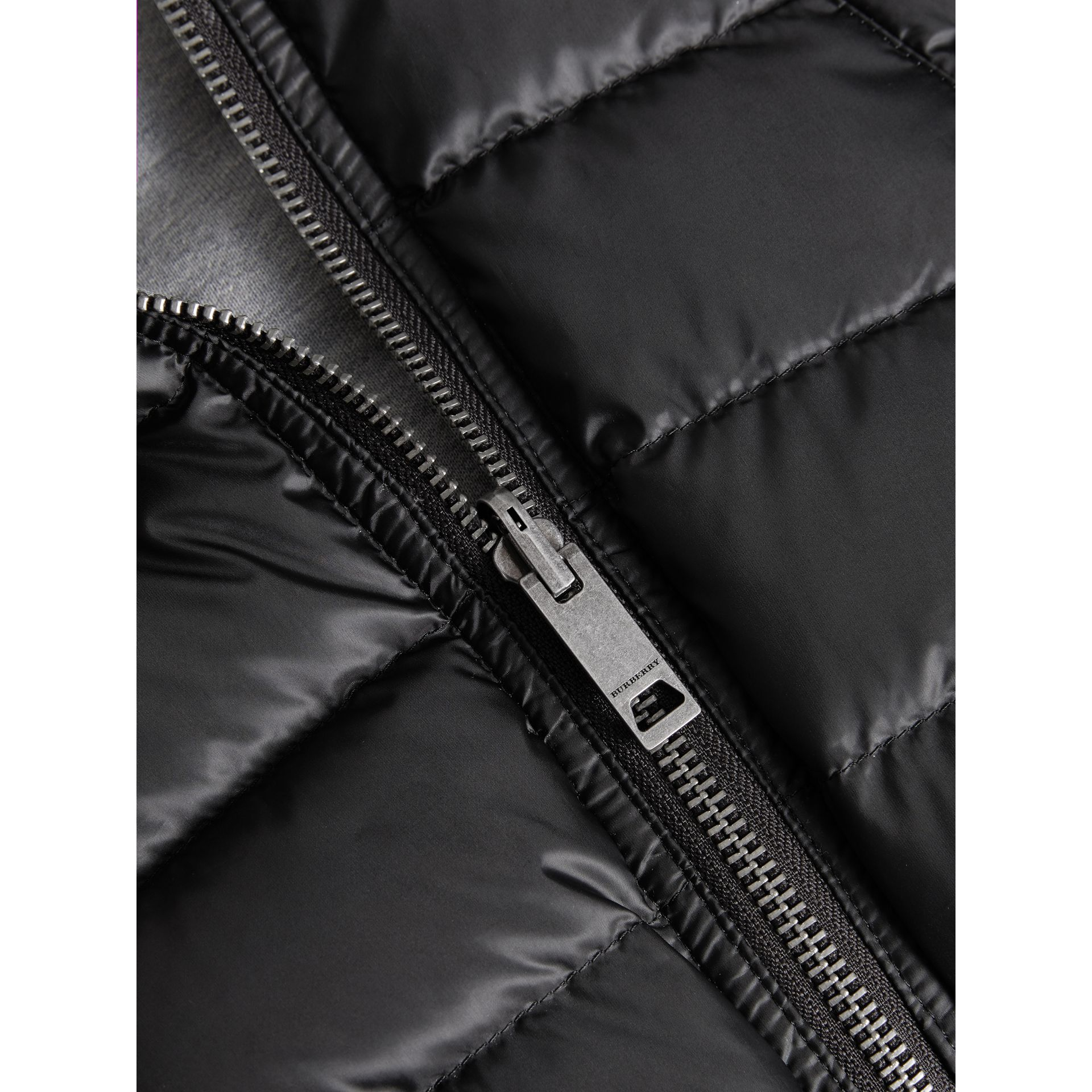 Reversible Down-filled Hooded Puffer Jacket in Black | Burberry - gallery image 1