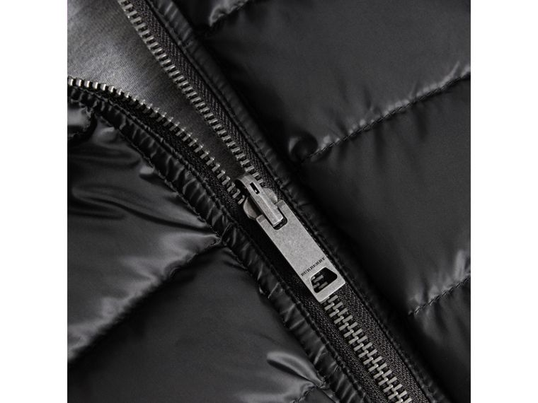 Reversible Down-filled Hooded Puffer Jacket in Black | Burberry - cell image 1