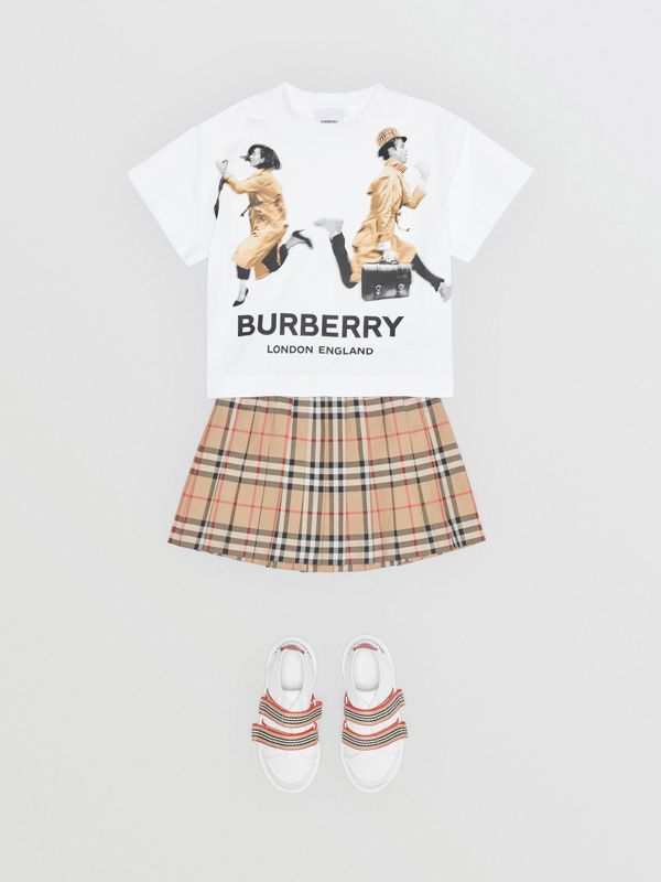 Jump Print Cotton T-shirt in White - Girl | Burberry - cell image 2