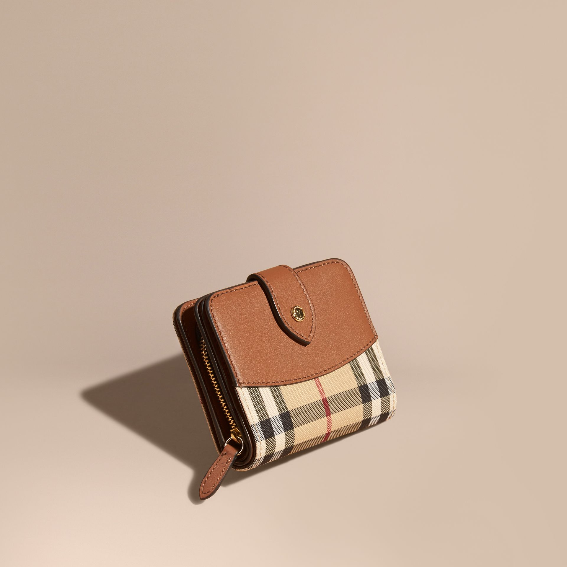 Horseferry Check and Leather Wallet Tan - gallery image 1