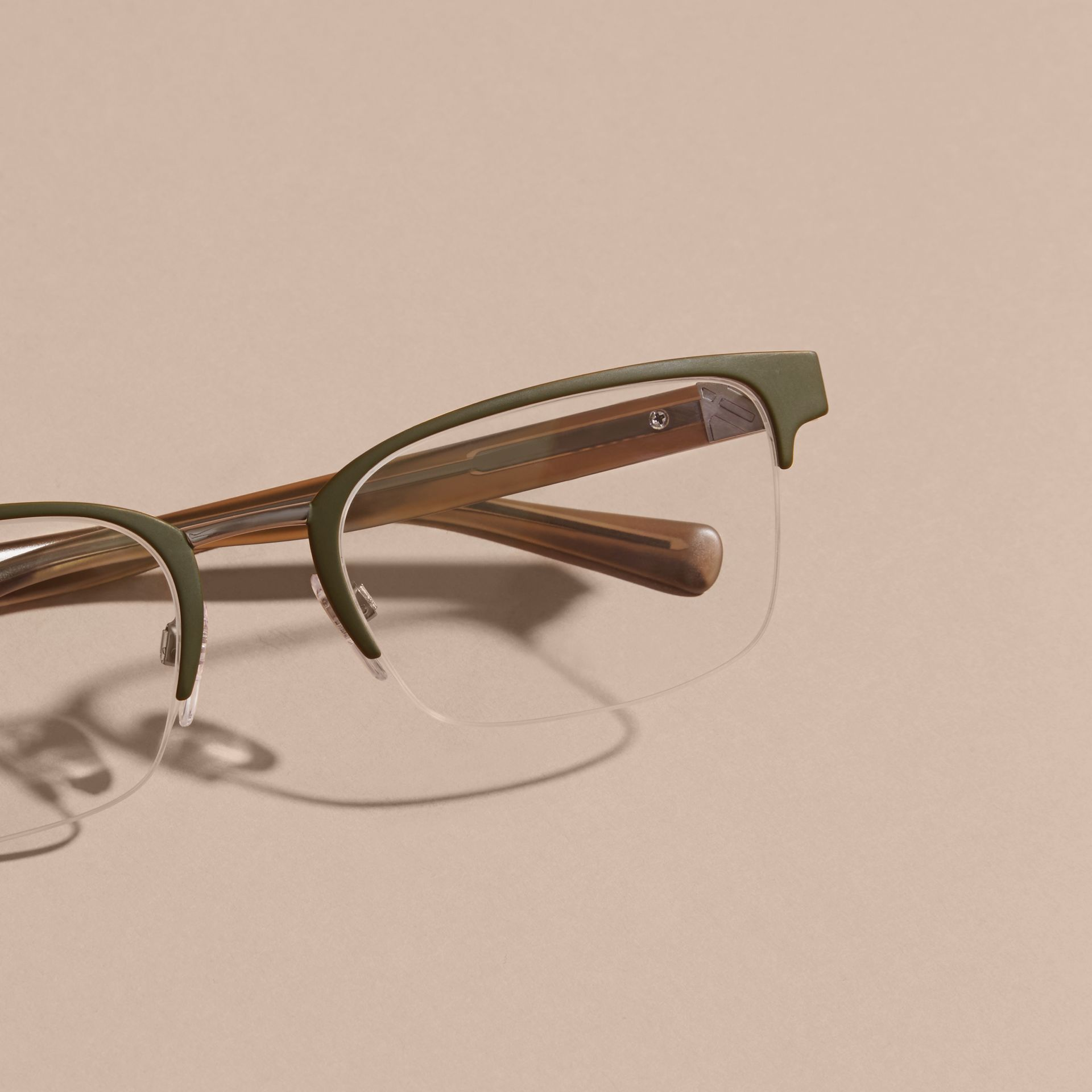 Half-rimmed Rectangular Optical Frames Olive - gallery image 3